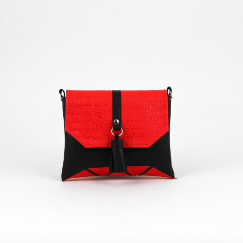 """Black """"Mini Rabbit"""" clutch with red details"""