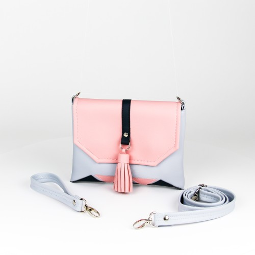 """Light blue """"Mini Rabbit"""" clutch with pink and dark grey details"""