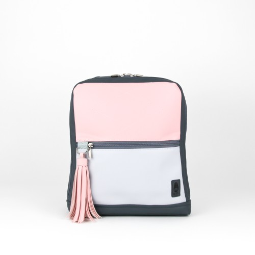 """Pink """"Only Rabbit"""" backpack with grey details"""